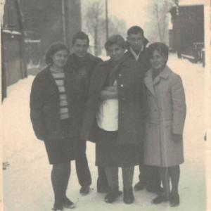 1960 r. – od lewej Krystyna Klukaczyńska , Genowefa Dupczyńska, Barbara Gralińska,Henryk Graczyk, Tadeusz Kostański.